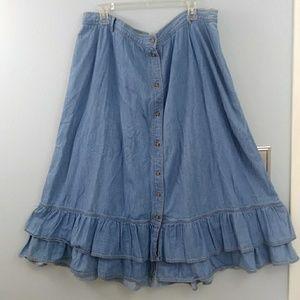 Liz Claiborne, size 22, ruffle denim skirt